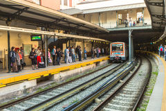 Urban metro station with subway train. Royalty Free Stock Photo