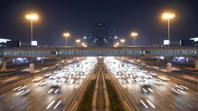 Cars Traffic Commuting on Urban City Street at Rush Hour Time. Urban Metropolis Traffic Road Scenery of Business Commuters Moving Fast Through the Cityscape stock footage