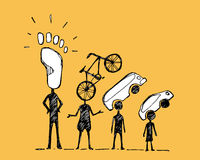 Urban mobility hierarchy. Hand drawn vector illustration or drawing of some people with urban mobility symbols royalty free illustration
