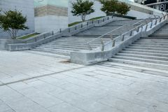 Urban modern building outdoor concrete cement steps. Outdoor town street Royalty Free Stock Photos
