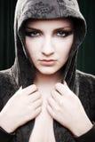 Urban/Modern model beauty shot. Black background stock image