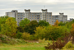 Urban multistory houses autumn scene Stock Photography