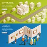 Urban Museum Banners Set. Museum banner isometric collection with simplified urban scenery and antique exhibition space with read more button vector illustration Royalty Free Stock Image
