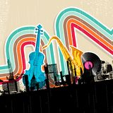 Urban Music. Illustration of cityscape with musical instrument in retro style Stock Photos