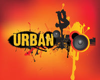 Urban music dance on orange stock illustration