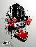 Urban music illustration. Urban illustration with vintage tape and graffiti arrows Stock Images