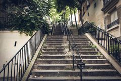 Urban Nature Stairs In Paris At Quartier Montmartre Royalty Free Stock Photos