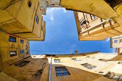 Urban neighborhoods photographed with fisheye Stock Images