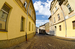 Urban neighborhoods photographed with fisheye Royalty Free Stock Photo