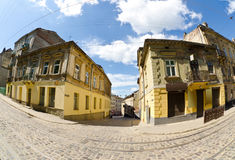 Urban neighborhoods photographed with fisheye Royalty Free Stock Photography