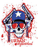 Urban neighbourhood. Skull and guns Royalty Free Stock Photography