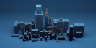 Urban abstract background, futuristic blue city panorama. 3d illustration. Urban night abstract background, futuristic blue city panorama. 3d illustration stock illustration