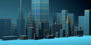 Urban abstract background, futuristic blue city panorama. 3d illustration. Urban night abstract background, futuristic blue city panorama. 3d illustration Stock Photos