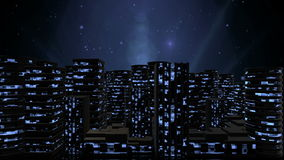 Urban Night City. Abstract modern skyscrapers with lighted windows stock video