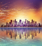 Urban night city landscape in moonlight or sunset, with reflecti Stock Image