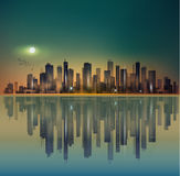 Urban night city panorama in moonlight or sunset, with reflectio Stock Photo