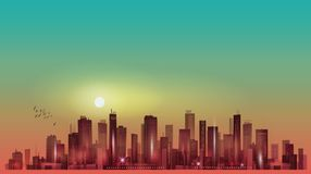 Urban night city skyline in moonlight or sunset. Modern city skyline at night Stock Image