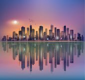 Urban night cityscape in moonlight or sunset, with reflection in Royalty Free Stock Photo