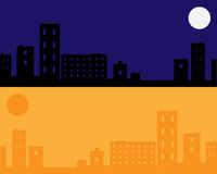 Urban night and day background - vector. Illustration of two urban scenery, night an day. EPS file available Stock Photography