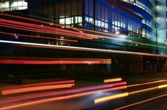 Urban Night 0089. Long exposure of traffic creating streaks of light in an urban setting at night royalty free stock image