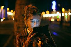 Urban night portrait Stock Image