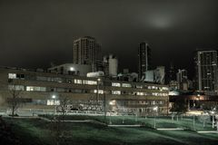 Industrial urban night scenery with the Chicago skyline. Royalty Free Stock Image