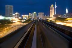 Urban night traffic. Photo of urban night traffic focus on the road royalty free stock photo
