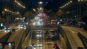 Urban night traffic in Barcelona.Time Lapse.02. Urban night traffic in Barcelona: great avenue of entry and exit to the city.Time Lapse stock footage