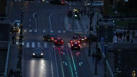 Urban night traffic. Urban traffic in the dark stock footage