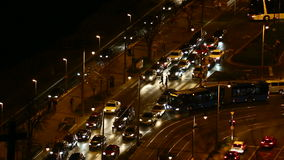 Urban night traffic. Urban traffic jam in the dark stock video footage
