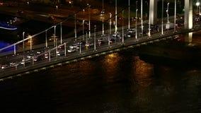 Urban night traffic stock video footage
