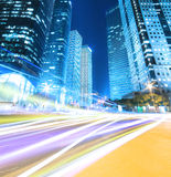 Urban night traffics view in dusk. Highway at night with light trails in shanghai China Royalty Free Stock Photo
