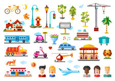 Urban objects vector illustrative icon set with infographic elements Royalty Free Stock Photos