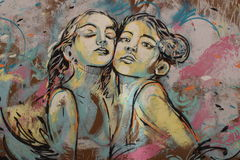 Grafitti på Rome vägg Arkivfoto