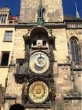 Urban clock building in Prague, aug 17 2017. Urban old clock building with sun light in Prague, aug 17 2017 Stock Photography