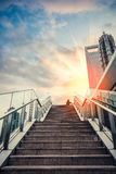 Urban outdoor stairs in sunset. Stairs to the sky, dreamy cityscape of modern city in shanghai Royalty Free Stock Photos