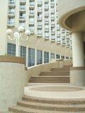 Urban outdoor view. stairway. street lamp. balconies. Royalty Free Stock Photo
