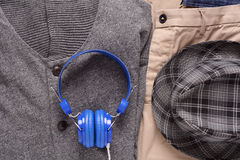 Urban outfit of traveler, student or young man Royalty Free Stock Images