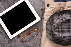 Urban outfit of traveler, student or young man Stock Image