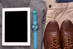 Urban outfit of traveler, student or young man Stock Photos