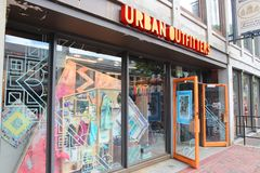 Urban Outfitters. BOSTON, USA - JUNE 9, 2013: Urban Outfitters fashion store in Boston. Urban Outfitters is a multinational fashion company with 401 stores (2012 royalty free stock photos