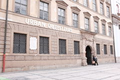 Urban Outfitters munich. Entrance to the Urban Outfitters store in munich with customers and copy space stock images