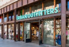 Urban Outfitters Retail Store Exterior and Trademark Logo. SANTA MONICA, CA/USA - APRIL 18, 2019: Urban Outfitters retail store exterior and trademark logo stock photo