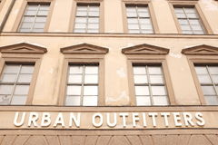 Urban Outfitters. Sign on an Urban Outfitters store with copy space above it royalty free stock photos