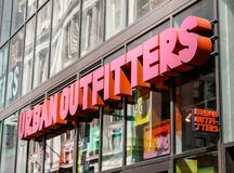 Urban Outfitters store. New York, April 28, 2017: The sign above an Urban Outfitters store in Manhattan stock photography