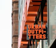 Urban Outfitters store. New York, April 28, 2017: The sign above an Urban Outfitters store in Manhattan stock images