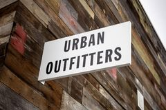 Urban Outfitters store sign. A store front sign for the trendy clothing retail chain known as Urban Outfitters royalty free stock images