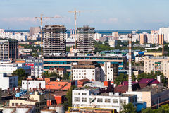Urban panorama with construction area Royalty Free Stock Image