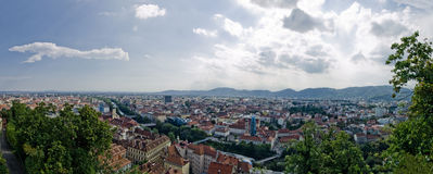 Urban panorama - Graz Stock Photography