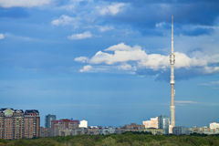 Urban panorama with Ostankino tower in Moscow Stock Photography